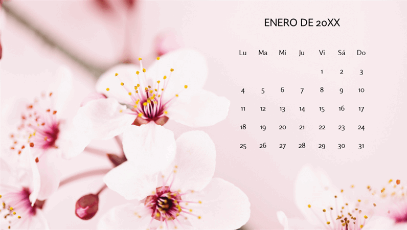 Calendario de fotos florales