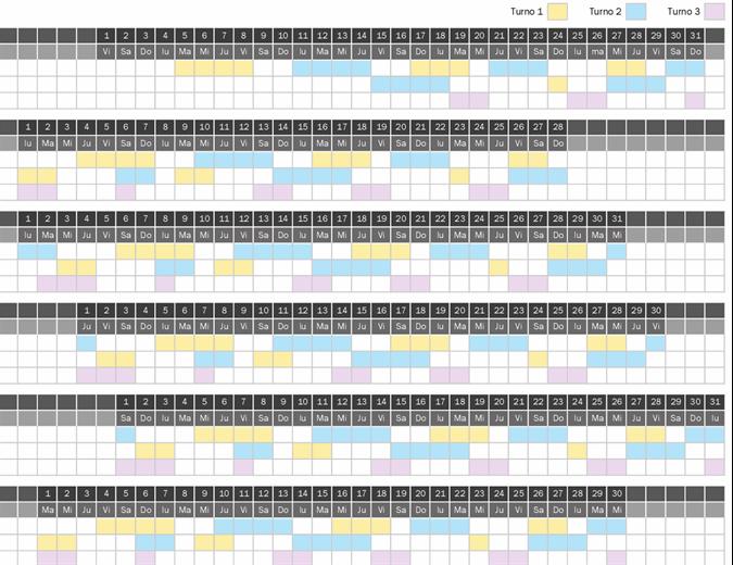 Calendario de trabajo por turnos
