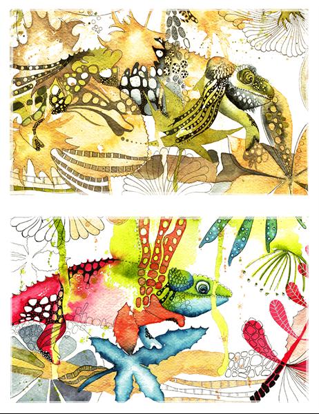 Tarjetas de saludo del camaleón (medio doblez)