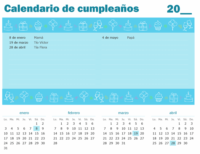 Calendario de cumpleaños con resaltado