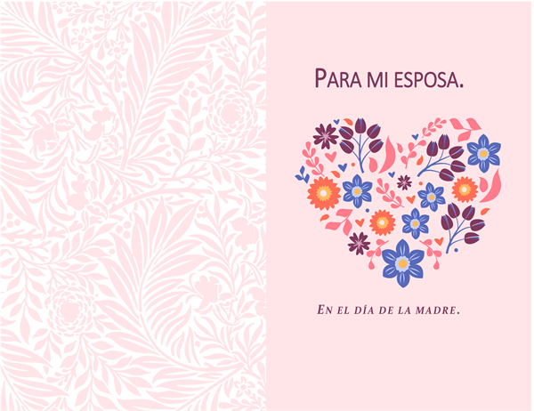 Tarjeta del Día de la madre con diseño de corazón y flores
