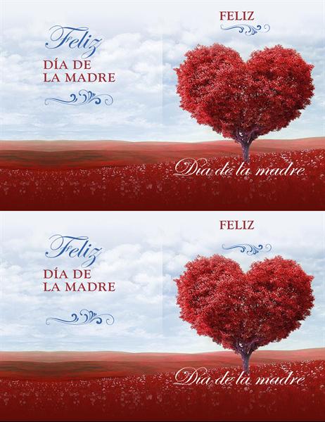Tarjeta del Día de la madre con árbol de corazones