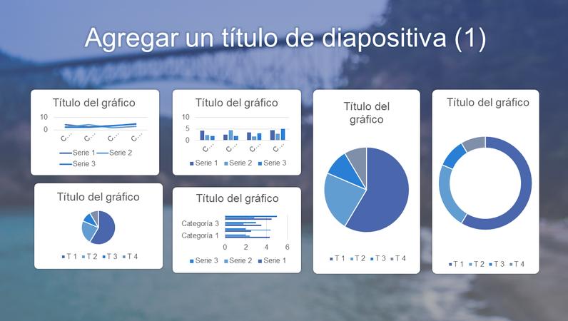 Panel azul de seis gráficos