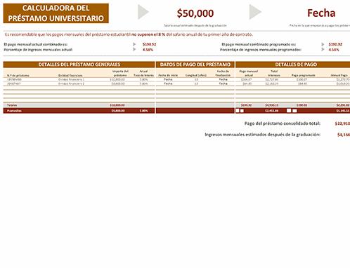 Calculadora de préstamo universitario