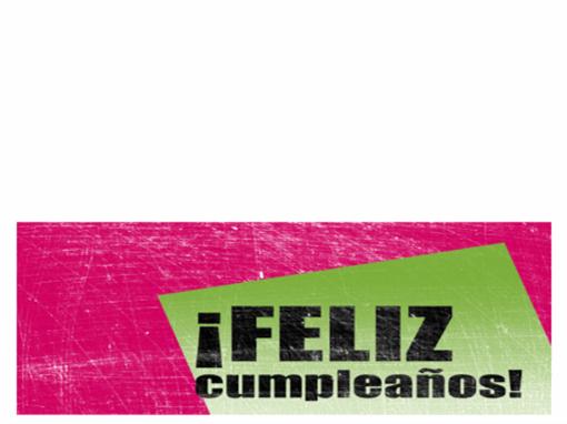Tarjeta de felicitación de cumpleaños con fondo a rayas (rosa y negra, plegada por la mitad)