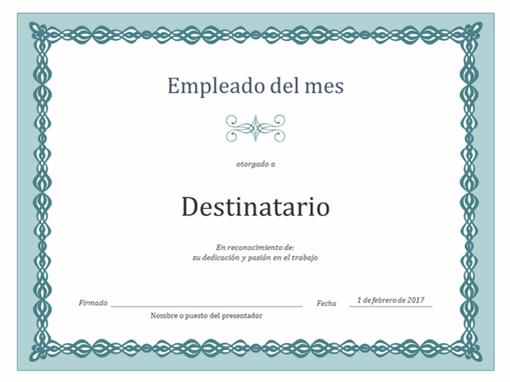 Certificado de empleado del mes (diseño de cadena azul)