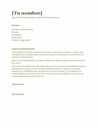 Carta de presentación de currículum (verde)
