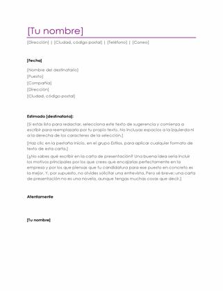 Carta de presentación de currículum (violeta)