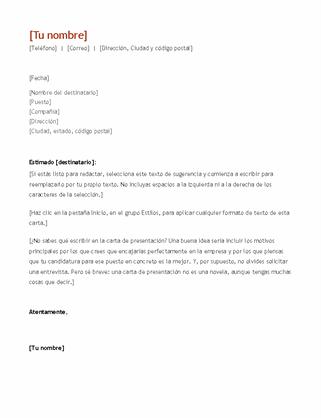 Currículum vítae y carta de presentación (cronológico)
