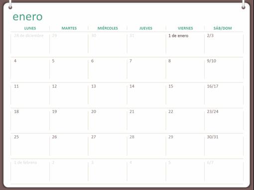 Calendario de pared clásico (de lunes a domingo, diseño con dos anillos)