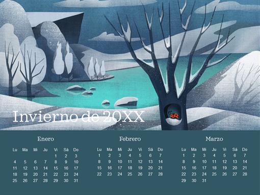 Calendario trimestral con diseño de mariquita