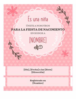 Invitación para la fiesta de nacimiento de una niña