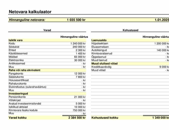 Netovara kalkulaator
