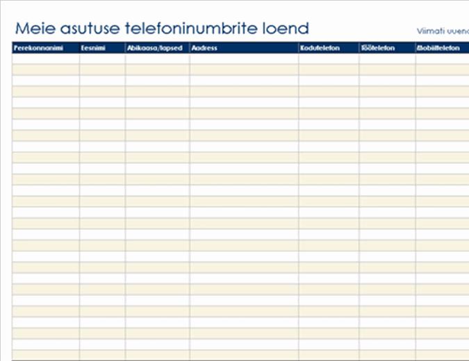 Asutuse telefoninumbrite loend