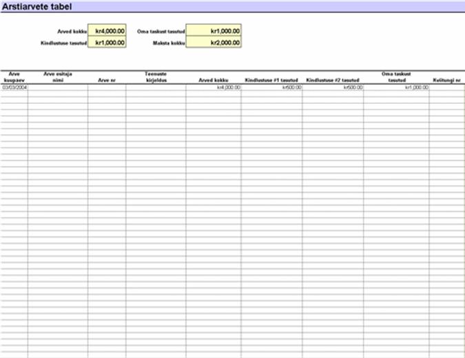 Arstiarvete tabel
