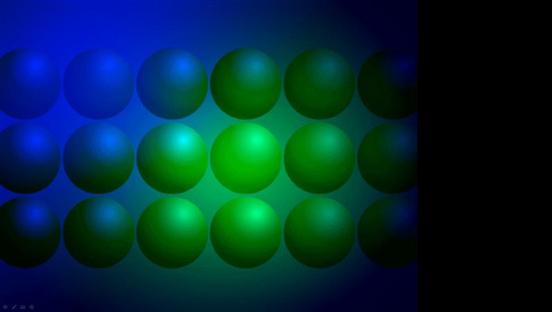 Siniste ja roheliste pallidega kujundusmall