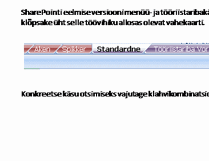 SharePoint Serveri menüükäskude asukohad lindil – töövihik teatmematerjalidega