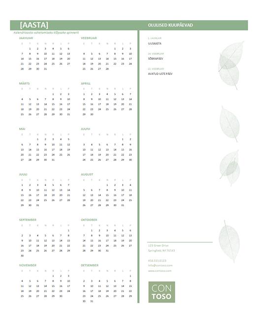 Väikeettevõtte kalender (mis tahes aasta, E–P)