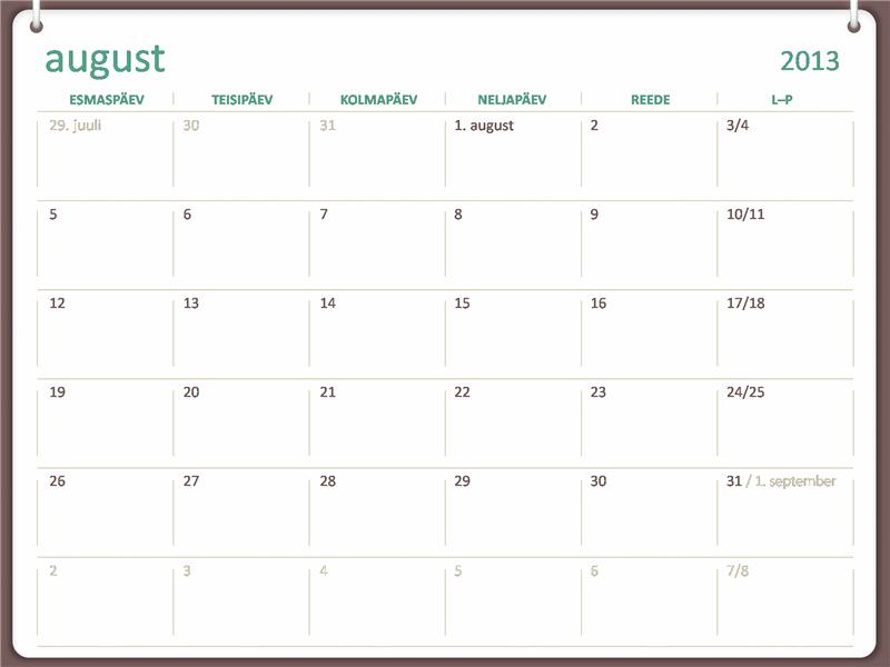 2013–2014 akadeemiline kalender (august)