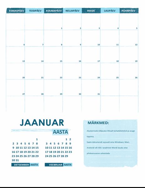 Akadeemiline kalender (üks kuu, mis tahes aasta, algab esmaspäevaga)