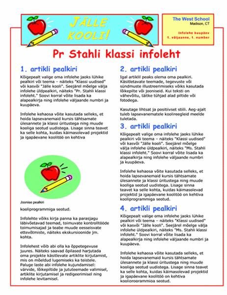 Klassi infoleht (2-värvline, 2 lk)