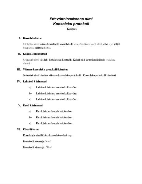 Ametliku koosoleku protokoll