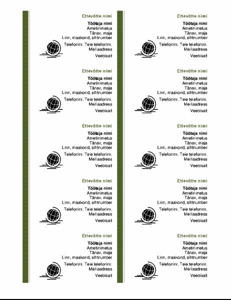 Visiitkaardid (10 kaarti ühel lehel)