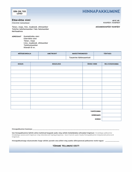 Teenusepakkumine (kujundus Sinine astmik)