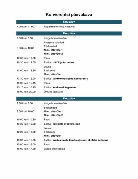 Konverentsi sündmuste ajakava