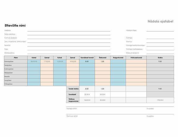 Nädala ajatabel (8,5 x 11, horisontaalpaigutus)