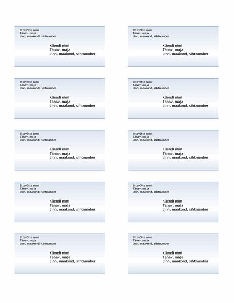 Aadressisildid (sinine astmikvärviga kujundus, 10 tk lehel)