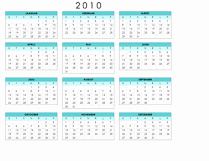 Kalender 2010 (1 lk, horisontaalpaigutus, E–P)