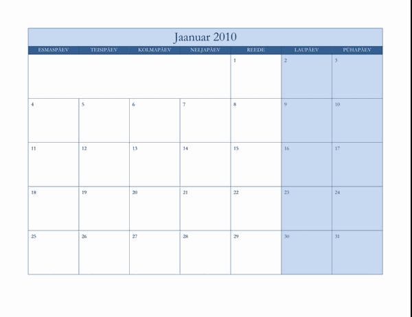 Kalender 2010 (klassikaline sinine kujundus, E–P)