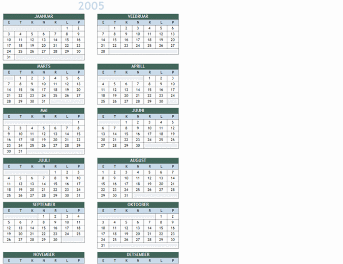 Aastakalender 2005–2014 (E–P)