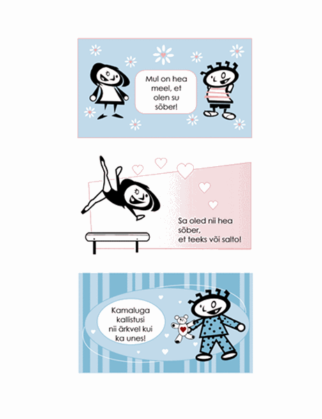 Isetehtud laste sõbrapäevakaardid (neli lehekülge kaardikujundusi ja üks universaalne tagakaas)