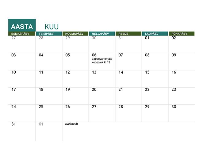 Kooliaasta kalender