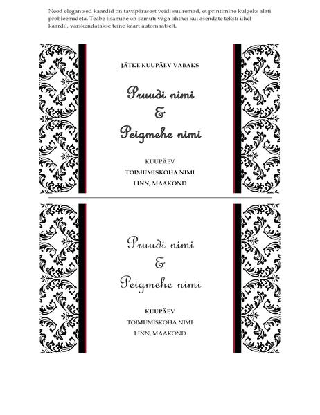 Pulmapeo kuupäeva teatamise kaart (mustvalge pulmakujundus)