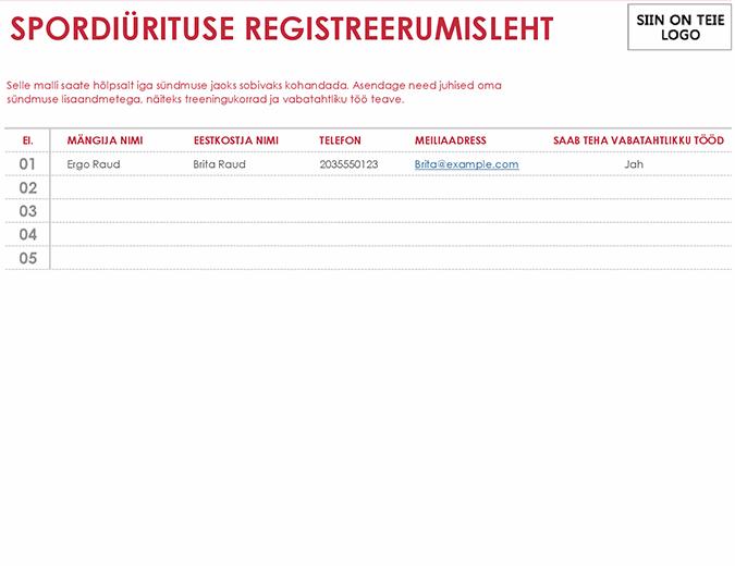 Spordiürituse registreerumisleht