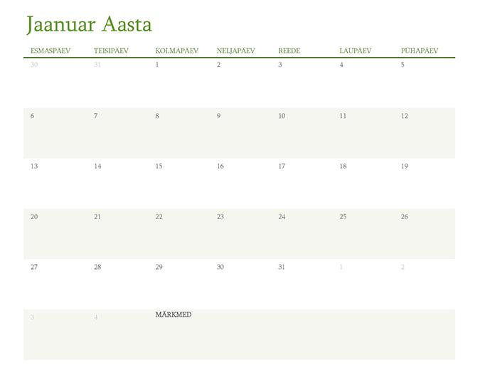 Aastakalender (üks kuu sakil)