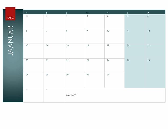 Aastakalender (kujundus Ion)