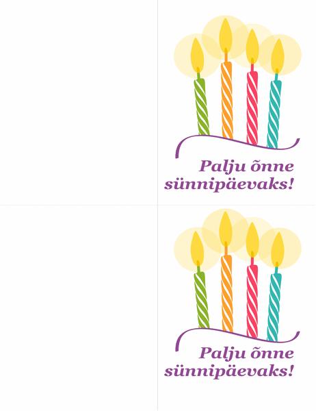Sünnipäevakaardid (2 tk lehel)