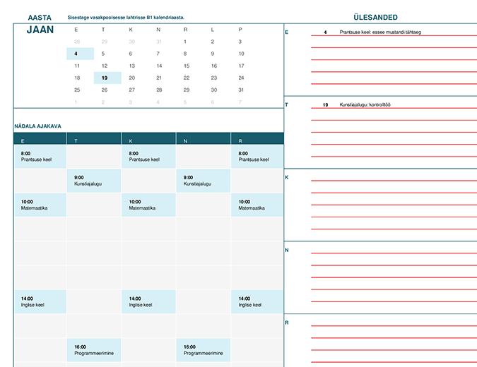 Kooliaasta kalender (kuupõhine)