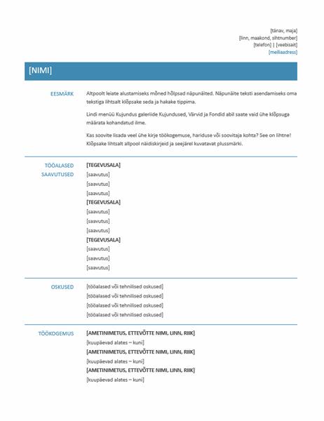 Funktsionaalne elulookirjeldus (kujundus Minimalistlik)