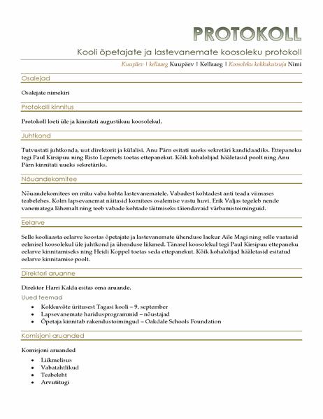 Õpetajate ja lastevanemate koosoleku protokoll