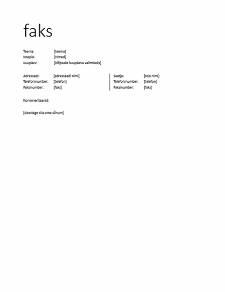 Faksi tiitelleht (mitteametlik)