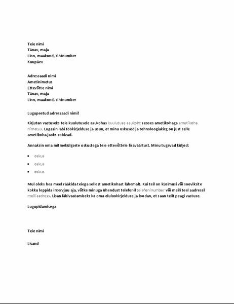 Näidiskaaskiri vastuseks tehnilise ametikoha kuulutusele