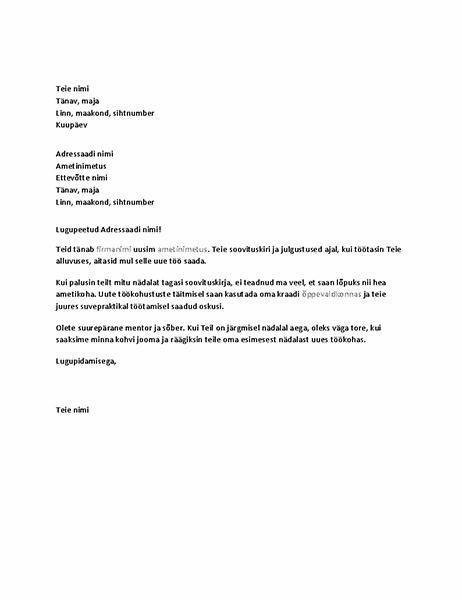 Tänukiri endisele ülemusele õnnestunud soovituskirja eest