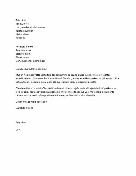 Tööpakkumise vastuvõtmise kiri