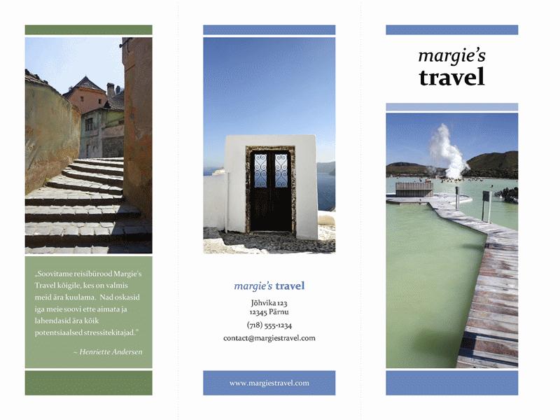 Kolmeks murtav reisibrošüür (sinine, roheline kujundus)
