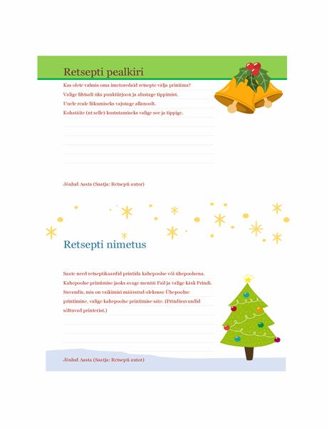 Retseptikaardid (jõulukujundus, kaks kaarti lehel, sobib paber Avery 5889)